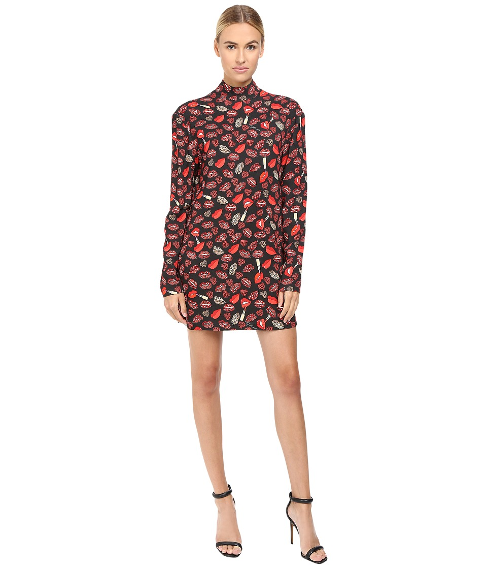 Just Cavalli - Crazy Lips Printed Long Sleeve Runway Dress (Black Variant) Women's Dress