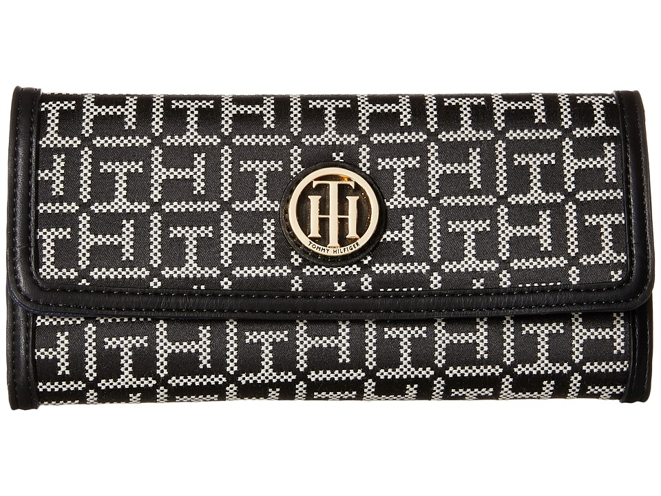 Tommy Hilfiger - TH Serif Signature - Large Flap Wallet (Black/White) Wallet Handbags