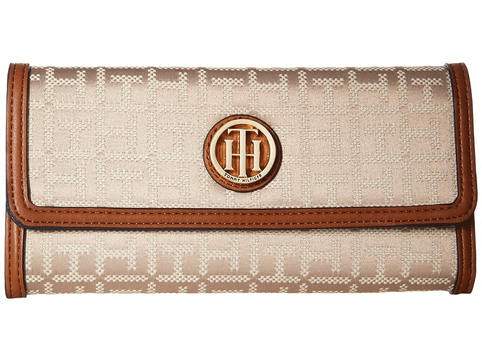 Tommy Hilfiger - TH Serif Signature - Large Flap Wallet (Khaki Tonal) Wallet Handbags
