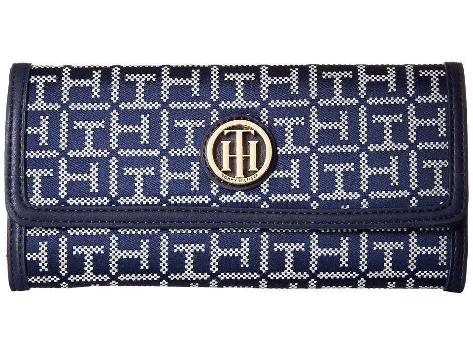 Tommy Hilfiger - TH Serif Signature - Large Flap Wallet (Navy/White) Wallet Handbags