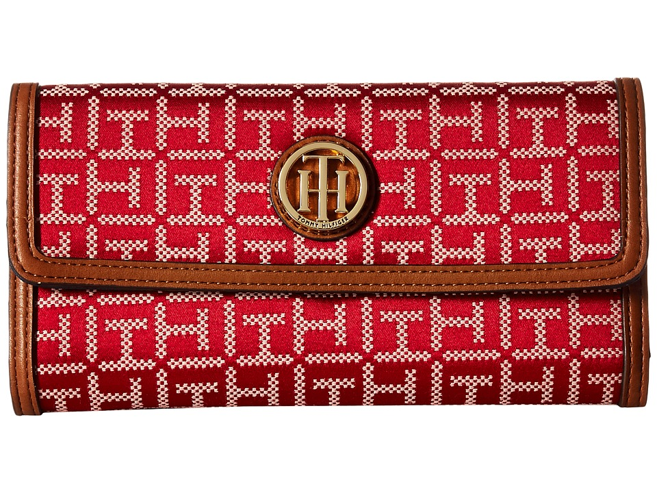 Tommy Hilfiger - TH Serif Signature - Large Flap Wallet (Red/Cream) Wallet Handbags