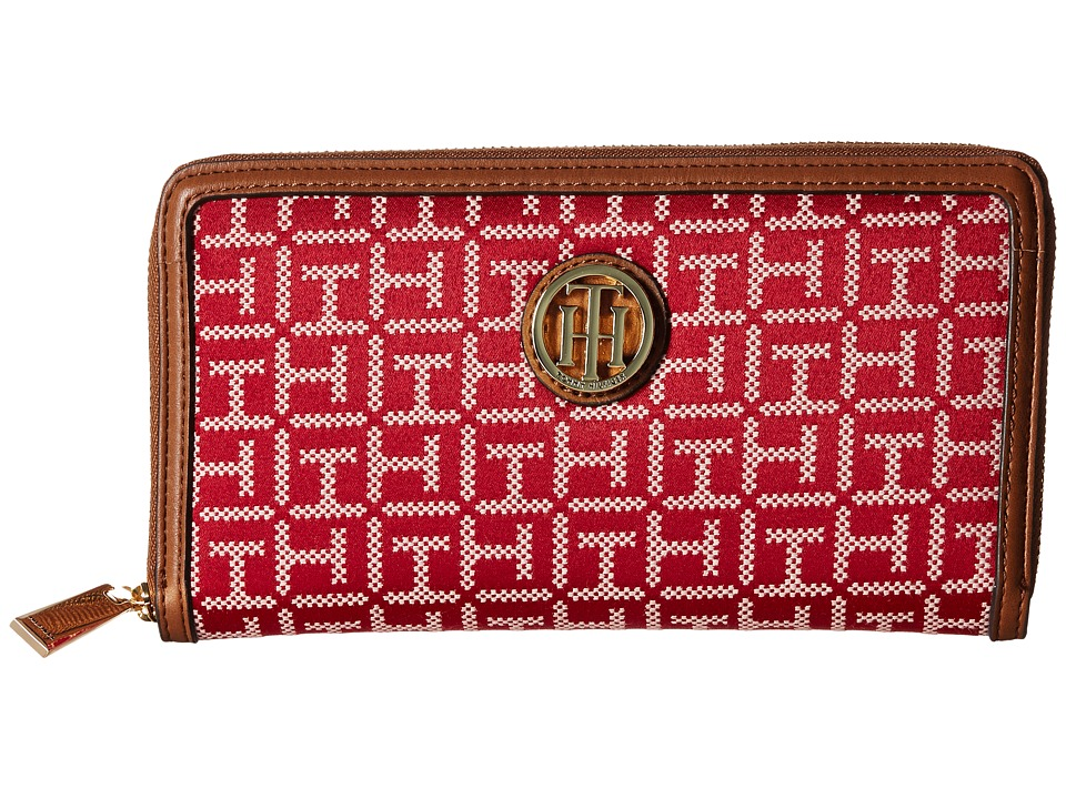 Tommy Hilfiger - TH Serif Signature - Monogram Jacquard/Smooth Large Zip Around Wallet (Red/Cream) Wallet Handbags
