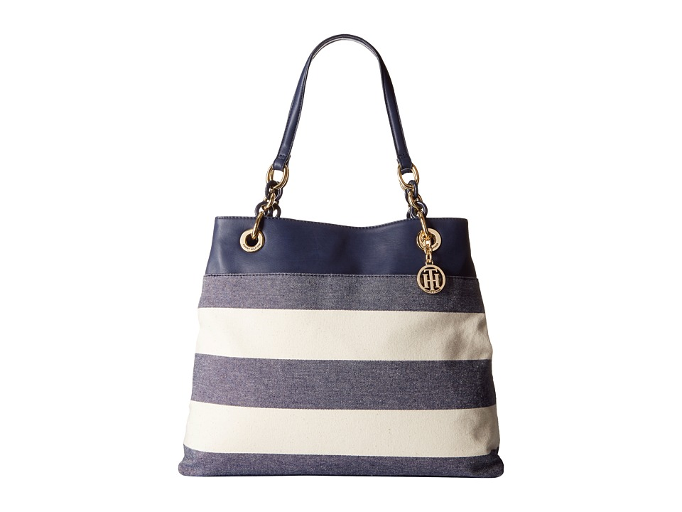 Tommy Hilfiger - TH Signature with Plastic Chain - Tote (Navy/Natural) Tote Handbags