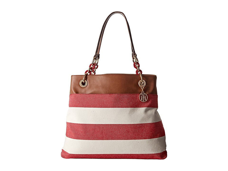 Tommy Hilfiger - TH Signature with Plastic Chain - Tote (Red/Natural) Tote Handbags