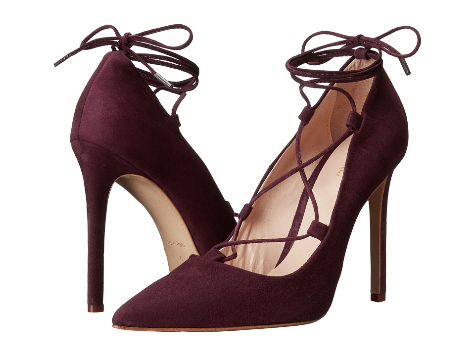 Massimo Matteo - Lace-Up Mid Heel (Red Suede) High Heels