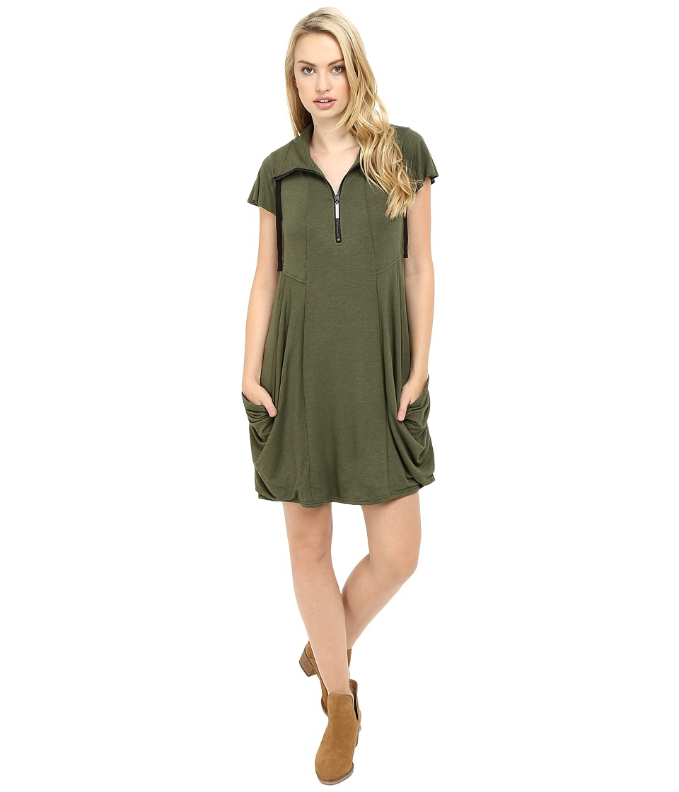 kensie - Drapey French Terry Dress (Heather Olive) Women's Dress