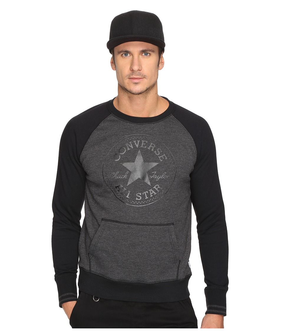 Converse - Core Tipped Rib Crew (Black Heather) Men's Clothing