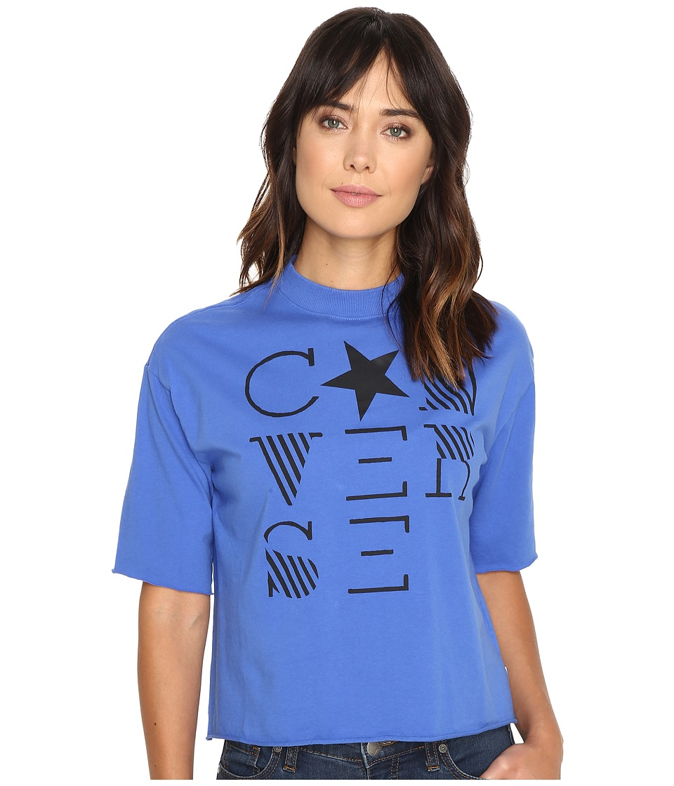 Converse Mock Neck Short Sleeve Tee (Oxygen Blue) Women