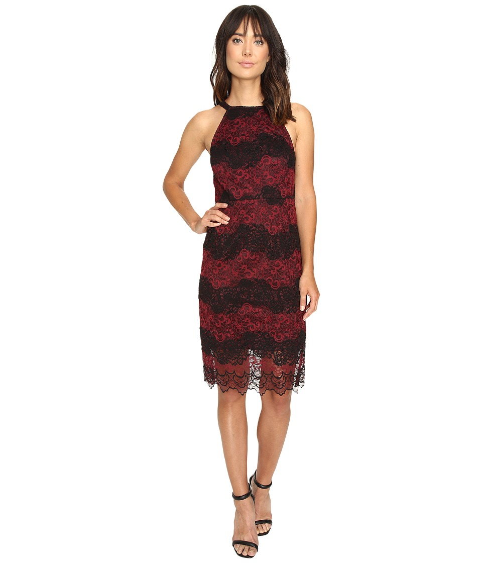 kensie Two-Tone Embroidered Lace Dress KS9K7132 (Wine Combo) Women