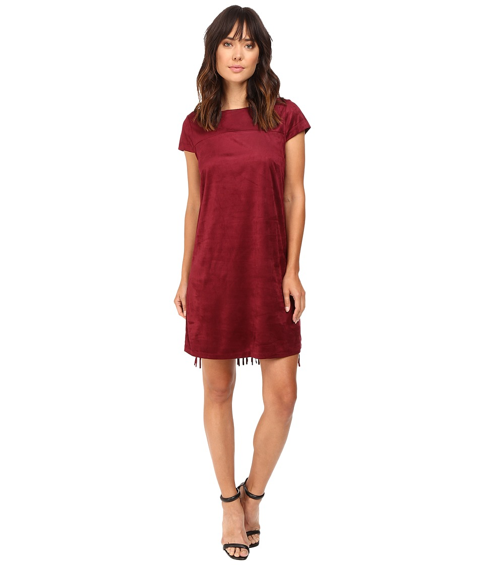 kensie Drapey Faux Suede Dress KS9K7131 (Wine) Women