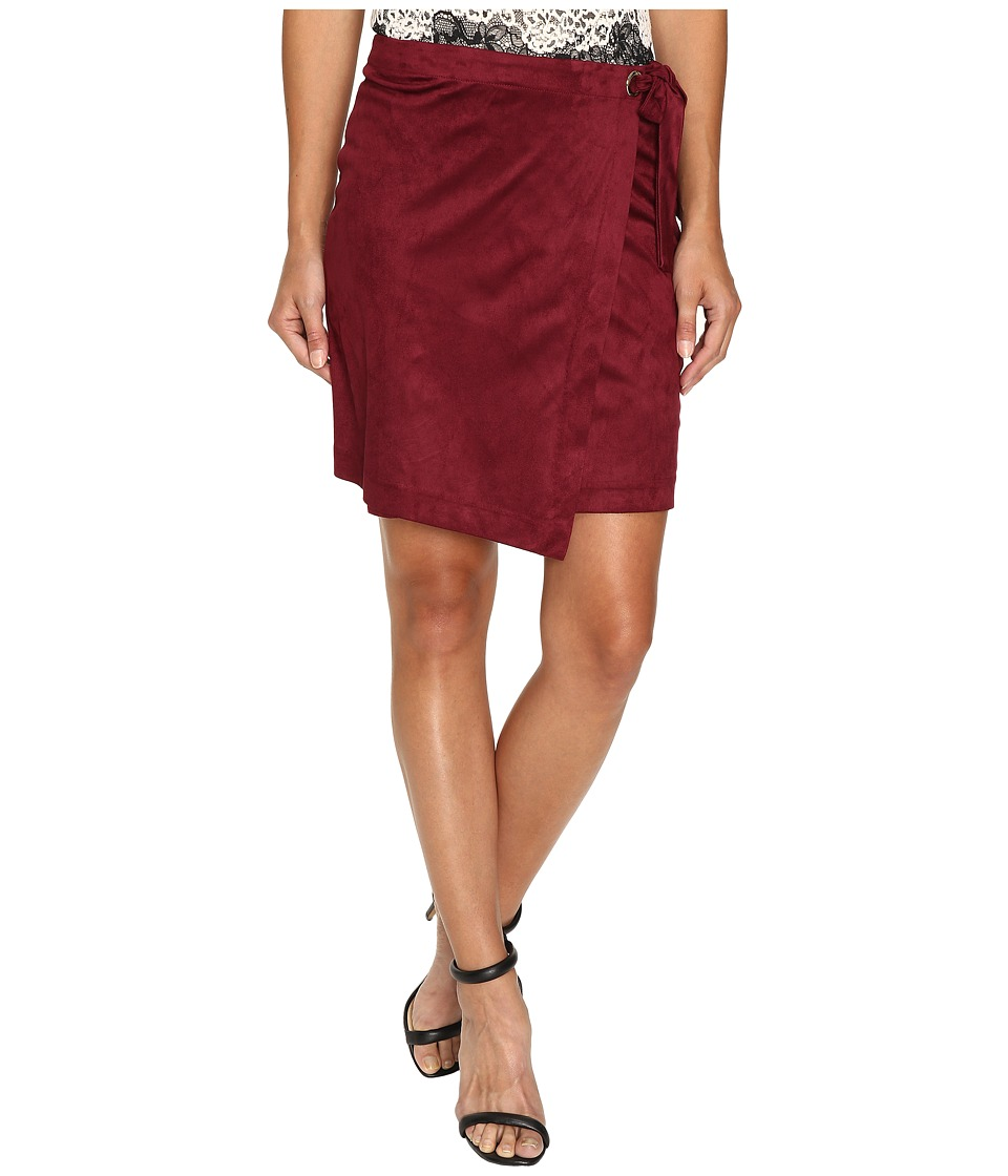 kensie Drapey Faux Suede Skirt KS9K6230 (Wine) Women