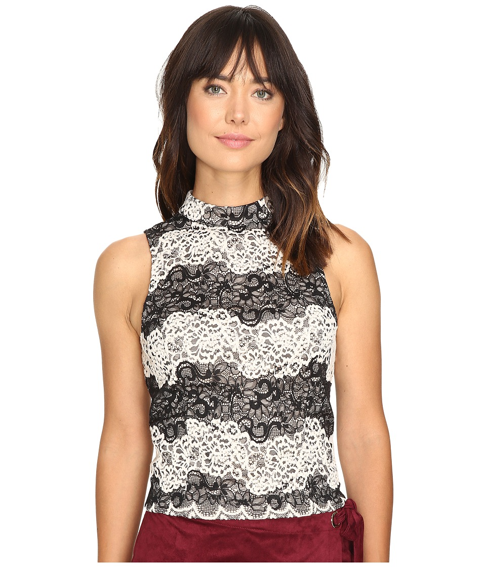 kensie - Two-Tone Embroidered Lace Top KS9K4232 (Black Combo) Women's Clothing