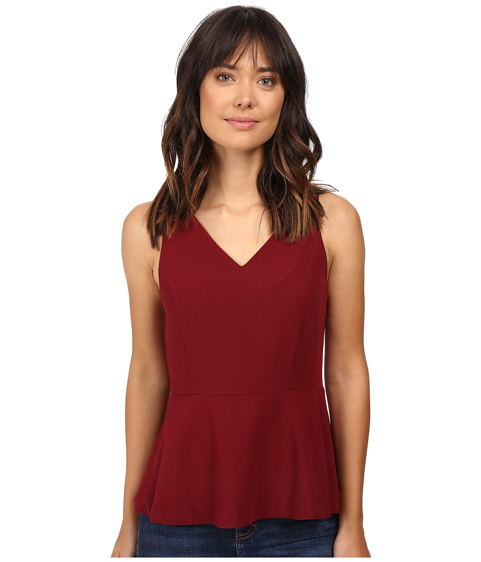 kensie - Mini Checker Crepe Top KS9K4654 (Wine) Women's Clothing