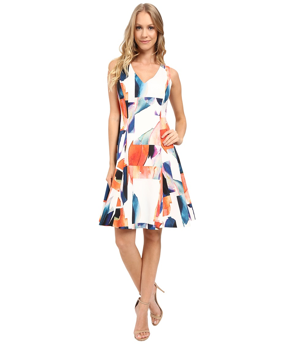 Ellen Tracy - Seamed Fit Flare Dress (Soleil Multi) Women's Dress