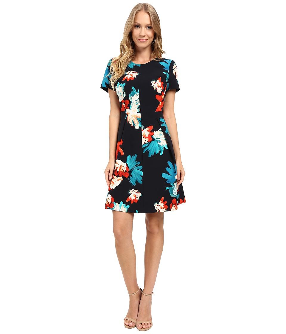 Ellen Tracy Short Sleeve Fit Flare Dress (Fleur Bouquet Multi) Women