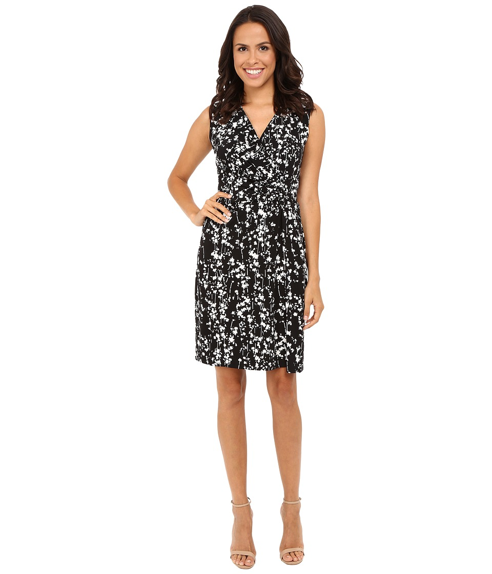 Ellen Tracy - Drape Twist Dress (Serene Floral Black) Women's Dress