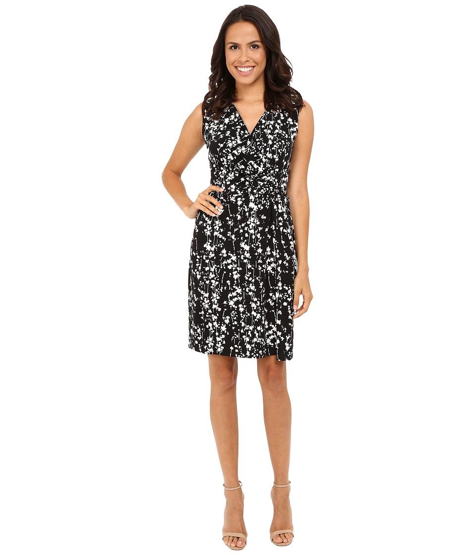 Ellen Tracy - Drape Twist Dress (Serene Floral Black) Women's Dress