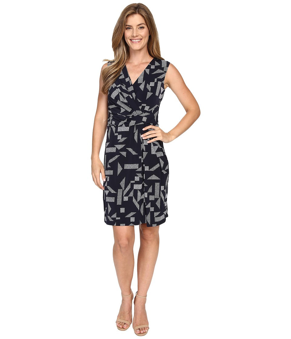 Ellen Tracy - Drape Twist Dress (Almafi Coast Navy) Women's Dress