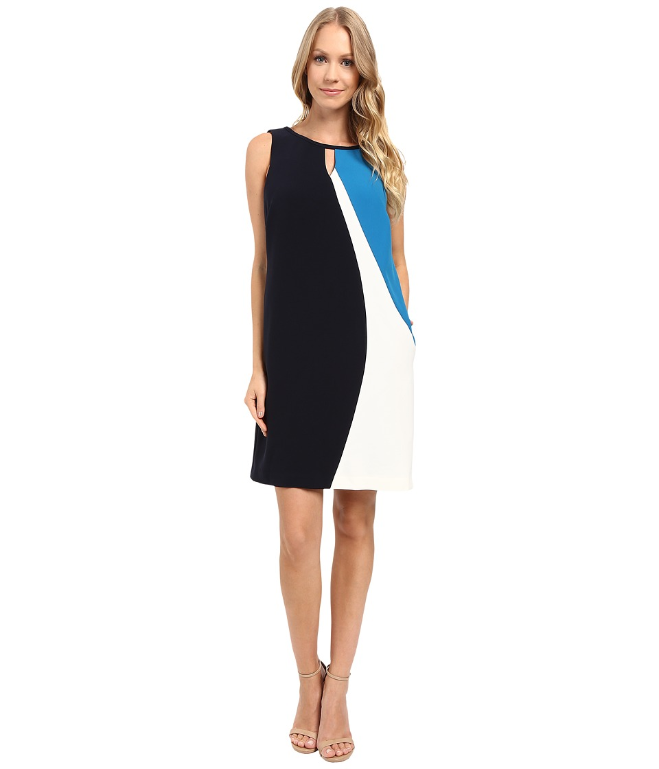 Ellen Tracy - Asymmetrical Seamed Shift Dress (E Navy) Women's Dress