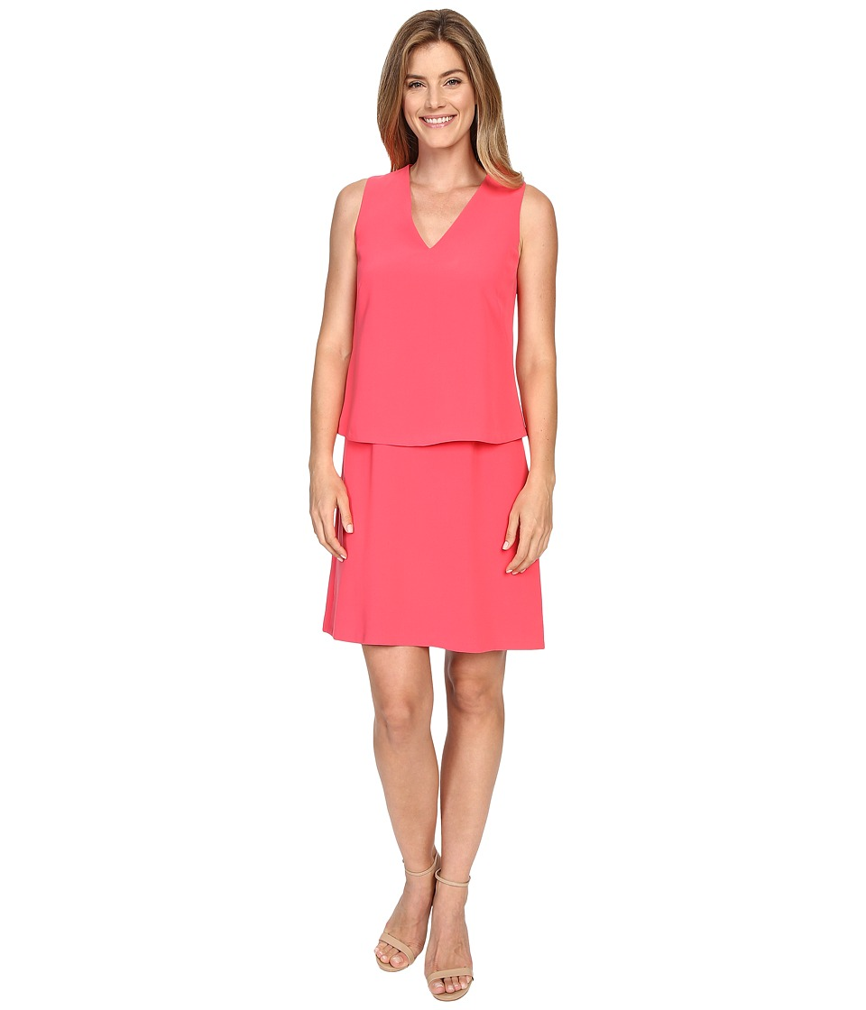 Ellen Tracy - V-Neck Trompe L'Oeil Dress (Watermelon) Women's Dress