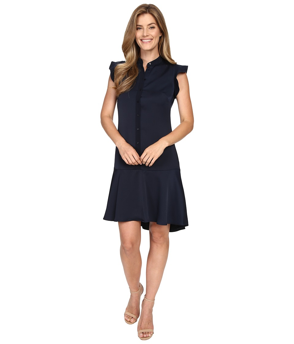 Ellen Tracy - Flutter Sleeve Shirtdress (E Navy) Women's Dress