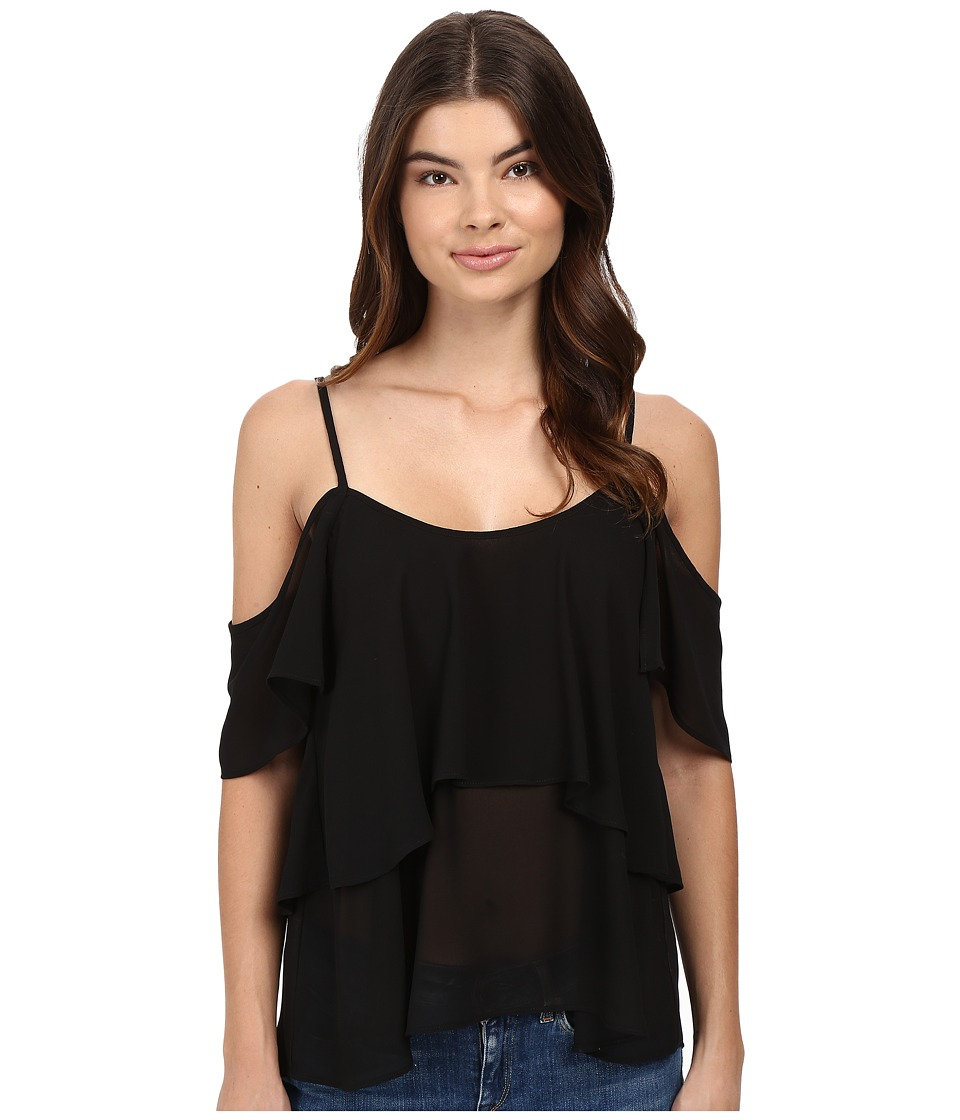 Show Me Your Mumu - Romance Ruffle Top (Black Chiffon) Women's Clothing