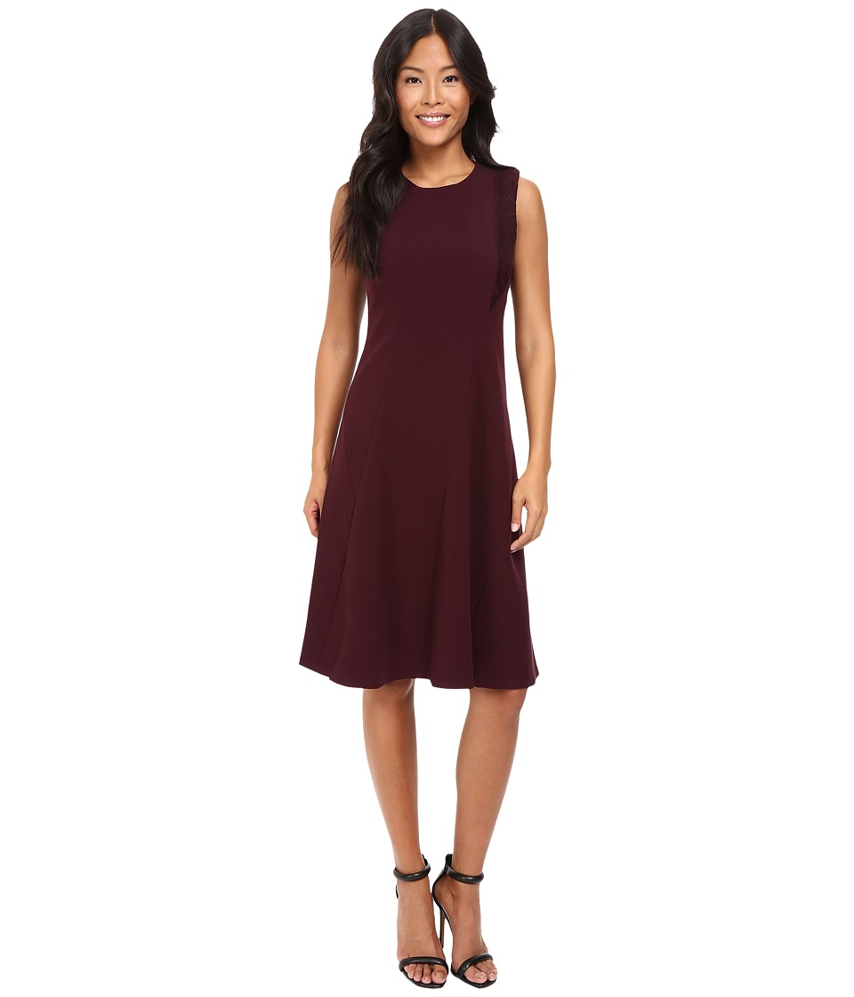 Ellen Tracy - Lace Inset Soft Flare Dress (Fig) Women's Dress