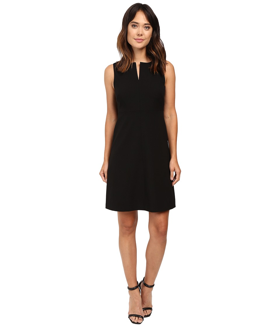 Ellen Tracy - Split Neck A-Line Dress (E Black) Women's Dress