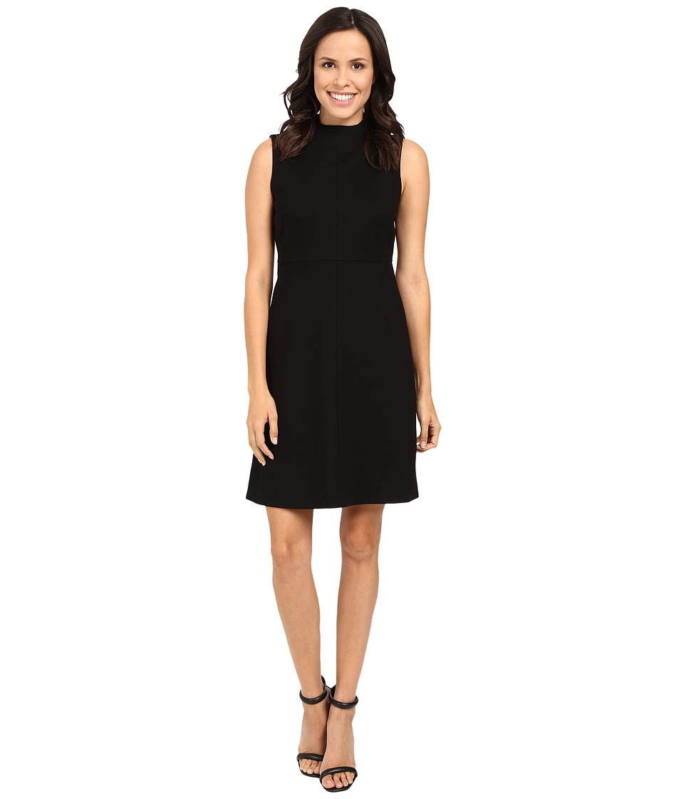 Ellen Tracy Seamed Mock Neck Dress (E Black) Women