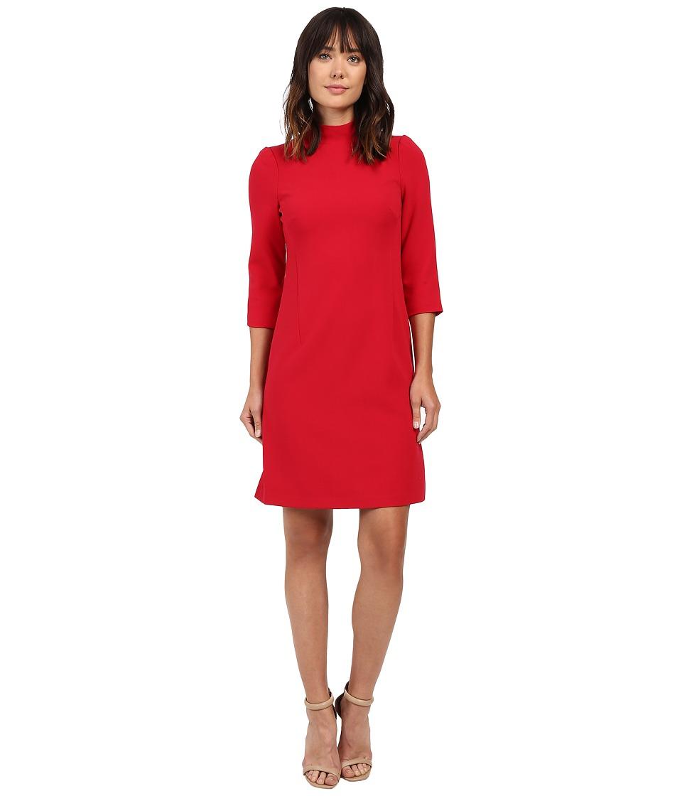 Ellen Tracy Mock Neck Sheath Dress (Rouge) Women