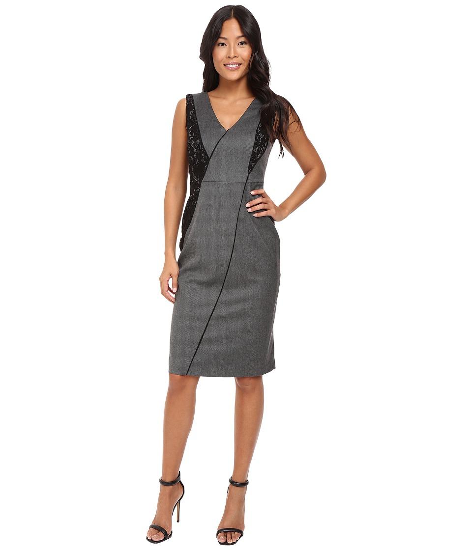 Ellen Tracy Seamed V-Neck Sheath Dress (Grey Heather Twill) Women