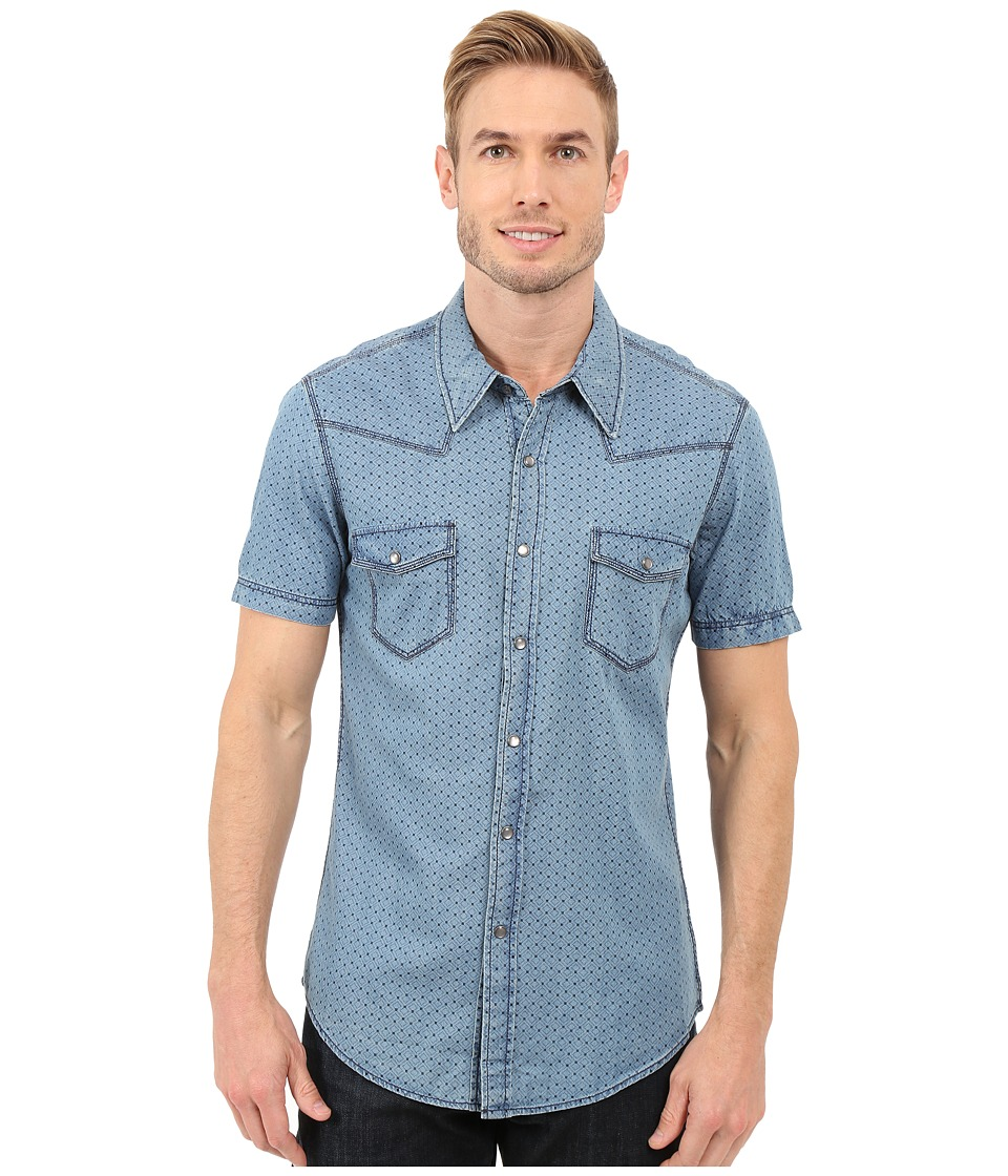 Rock and Roll Cowboy - Short Sleeve Snap B1S7284 (Blue) Men's Short Sleeve Button Up