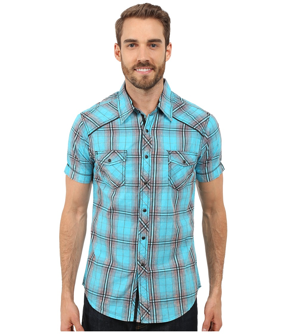 Rock and Roll Cowboy - Short Sleeve Snap B1S7278 (Turquoise) Men's Short Sleeve Button Up