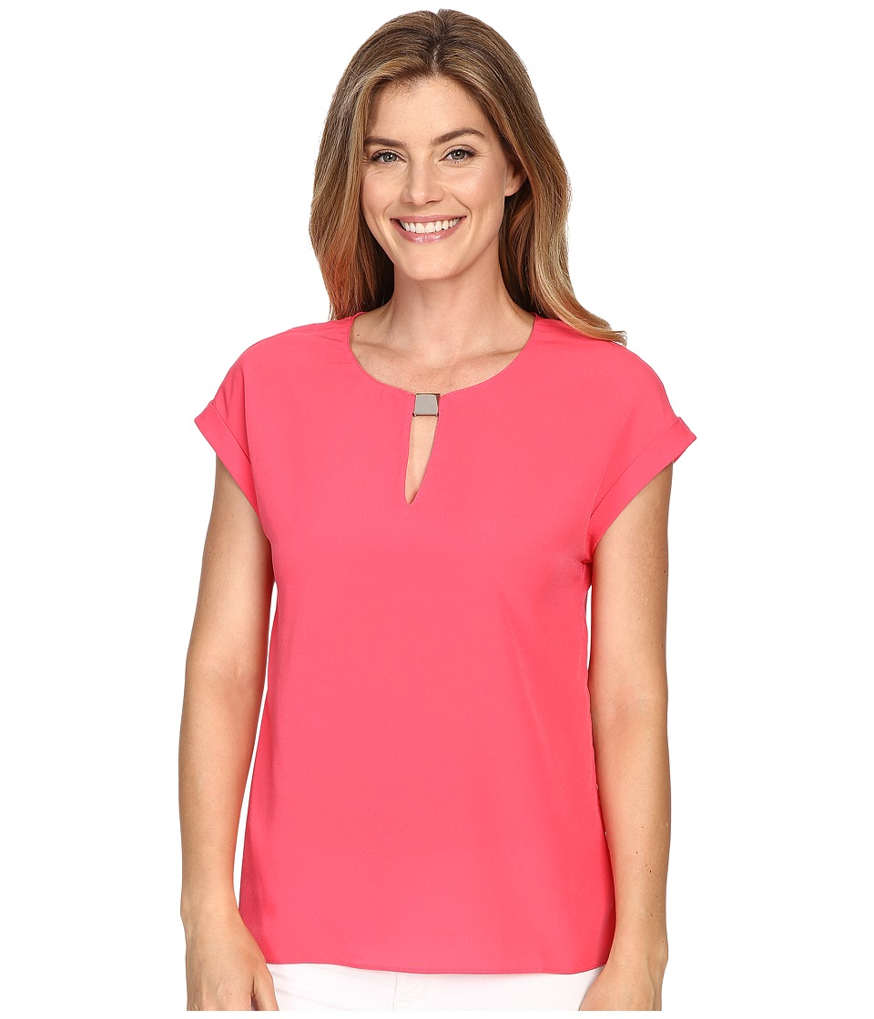 Ellen Tracy - Hardware Keyhole Shell (Watermelon) Women's Clothing