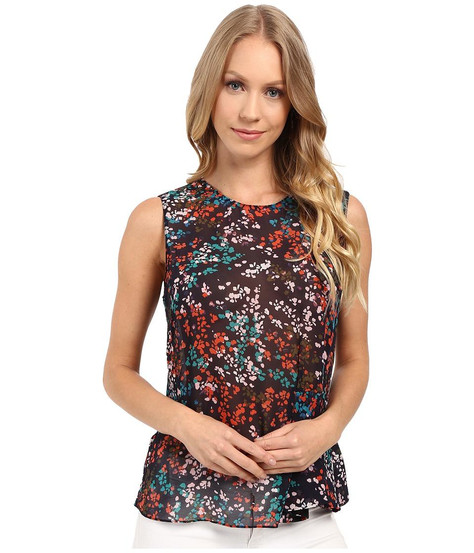 Ellen Tracy - Side Flounce Shell (Petite Fleur Multi) Women's Clothing