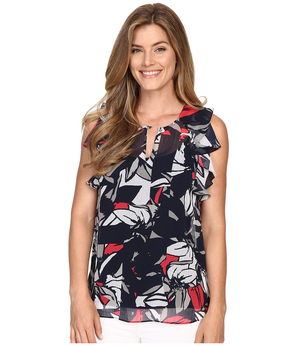 Ellen Tracy - Flutter Sleeve Top (Floral Collage) Women's Clothing