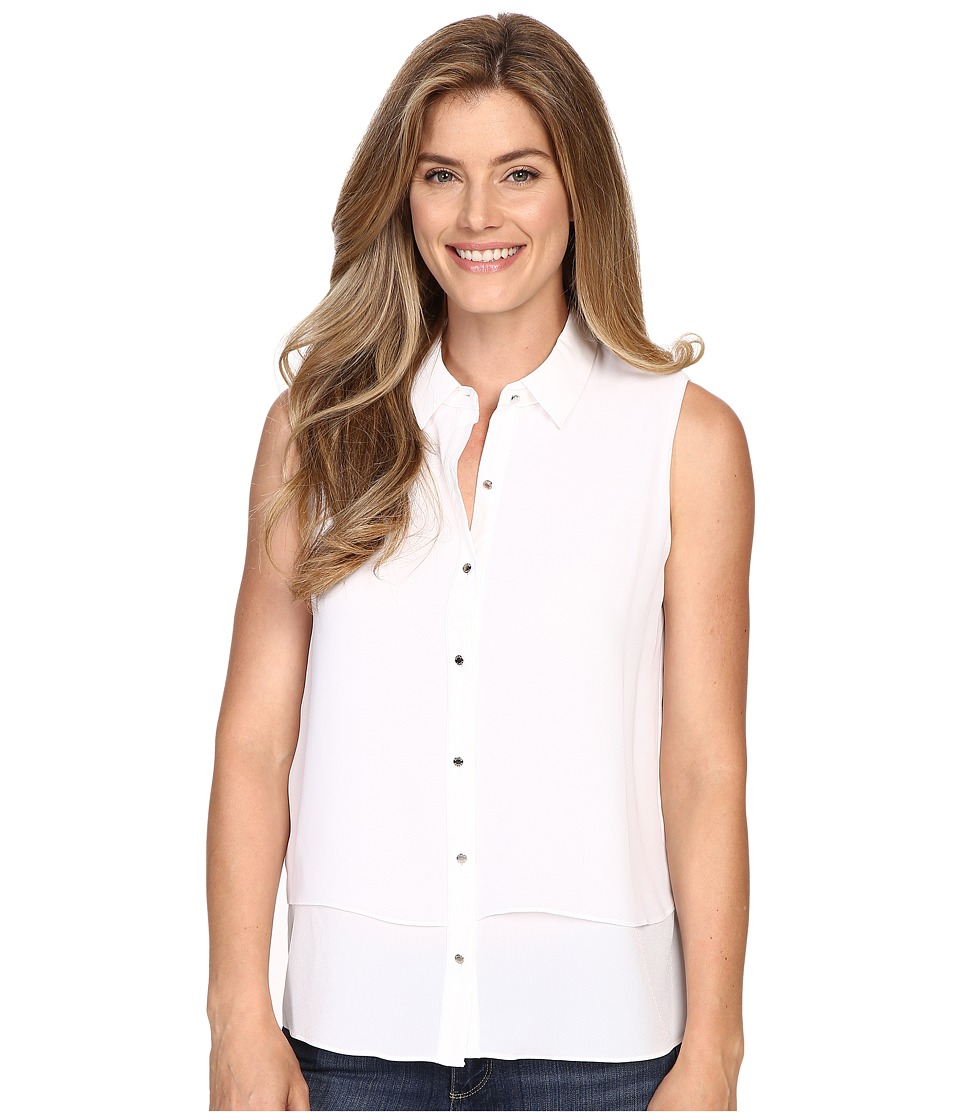 Ellen Tracy - Sleeveless Double Layer Shirt (E White) Women's Sleeveless