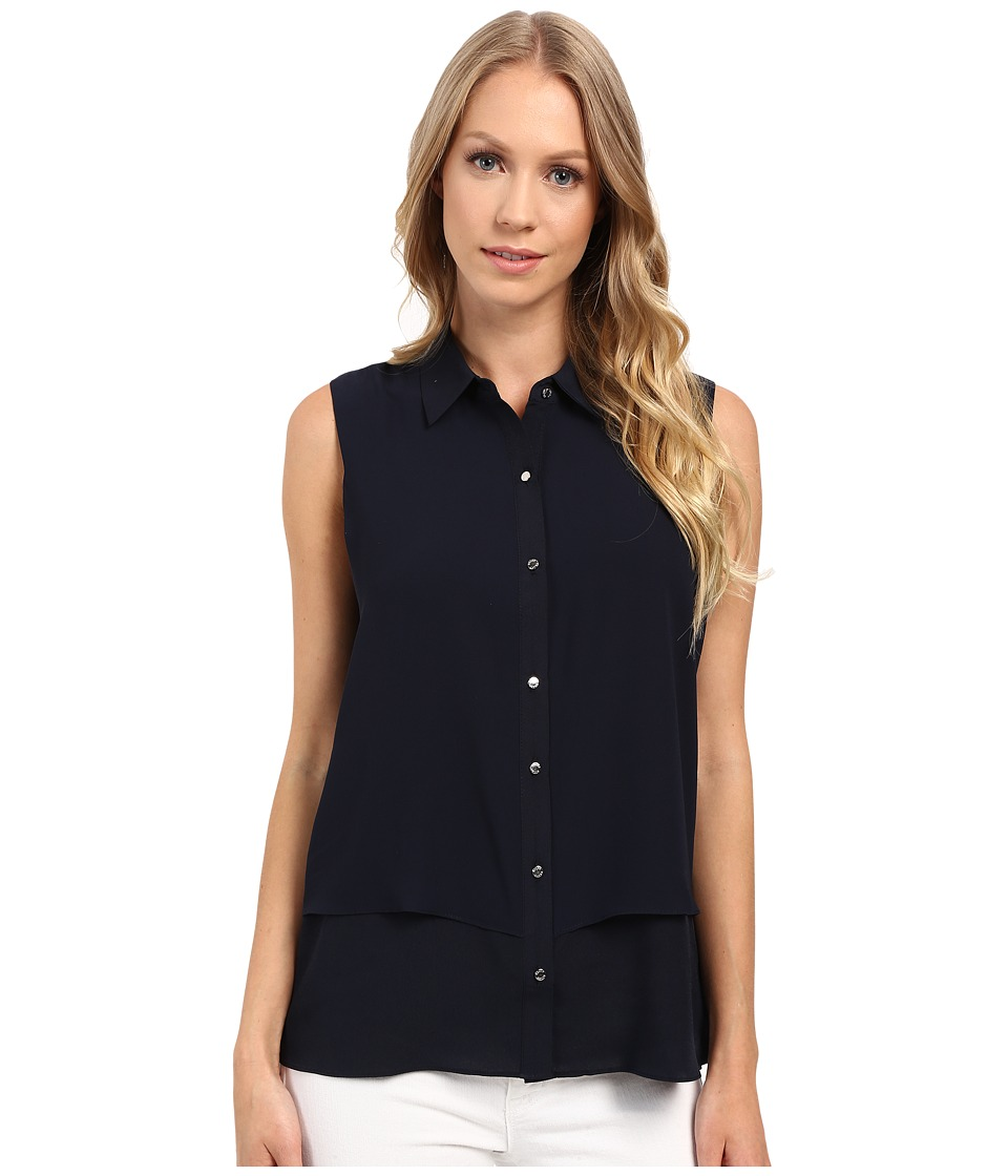 Ellen Tracy - Sleeveless Double Layer Shirt (E Navy) Women's Sleeveless