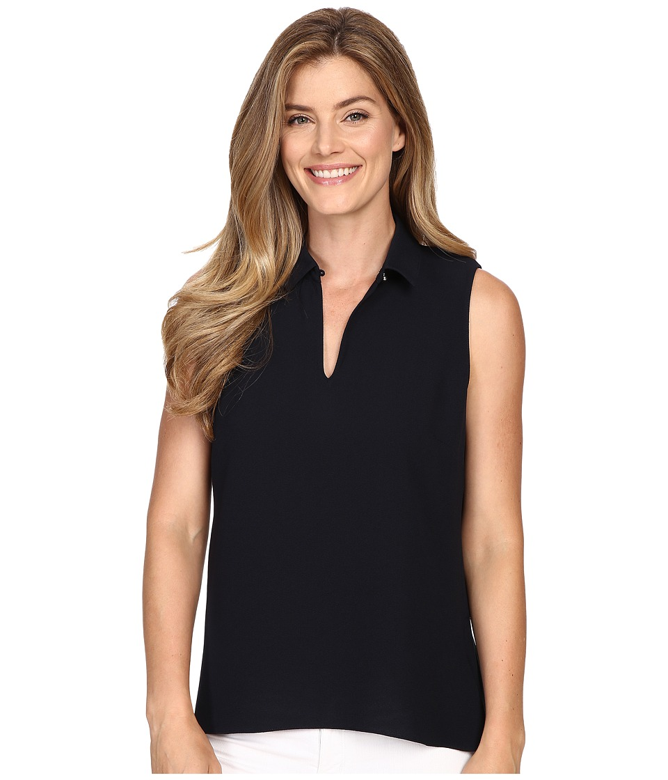Ellen Tracy - Peplum Back Collared Split-Neck Shell (E Navy) Women's Clothing
