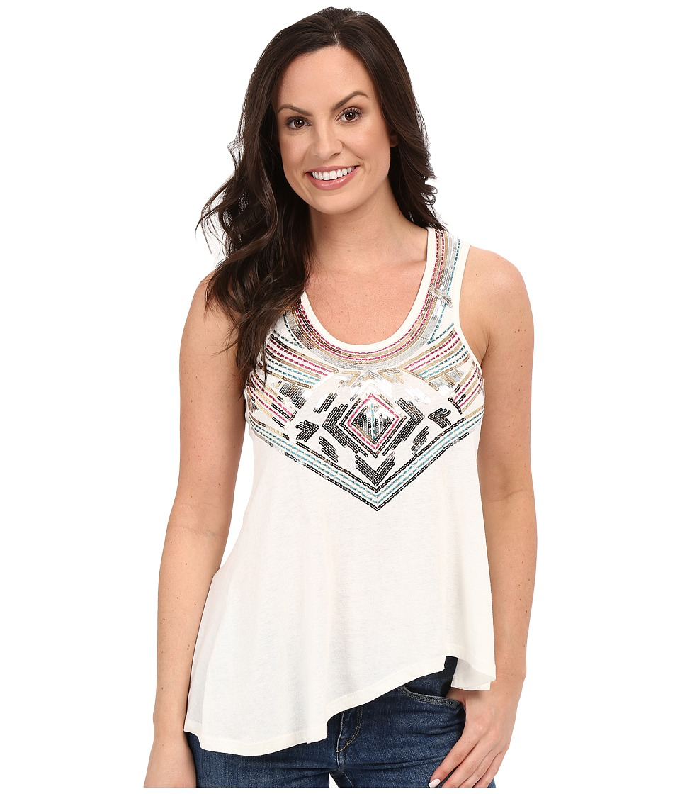 Rock and Roll Cowgirl - Knit Tank Top 49-7235 (White) Women's Sleeveless