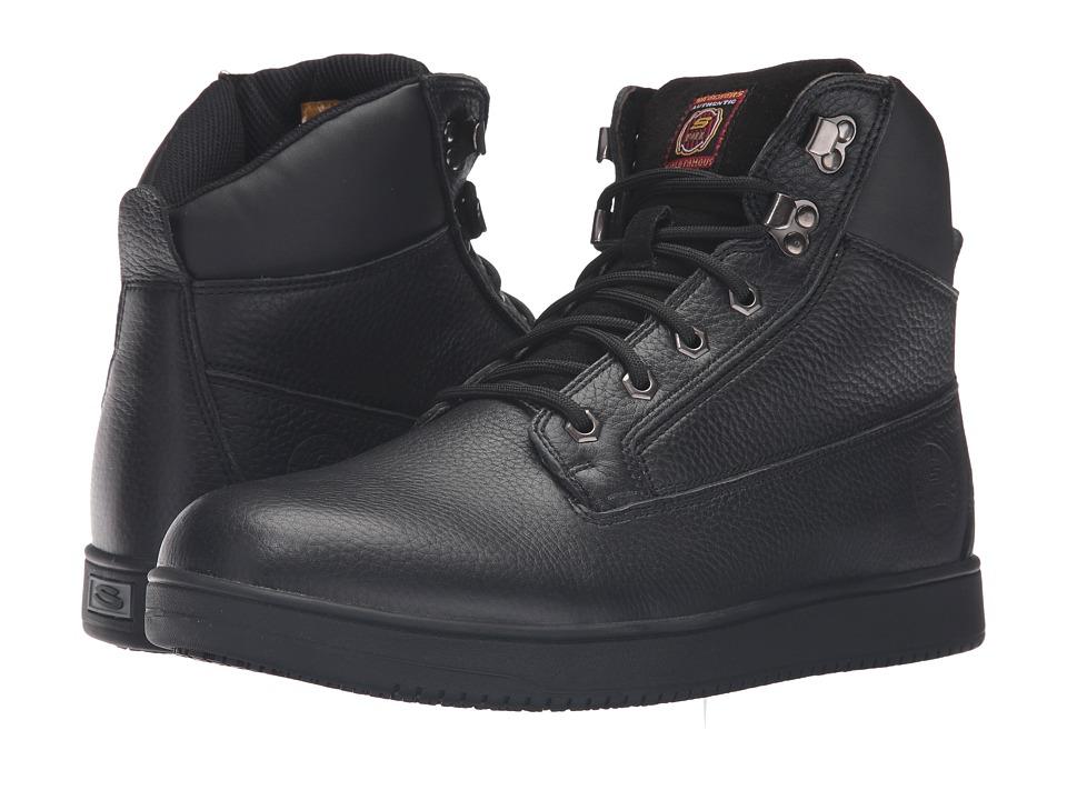 SKECHERS Work - Ossun - Ivor (Black Embossed Leather) Men's Work Boots