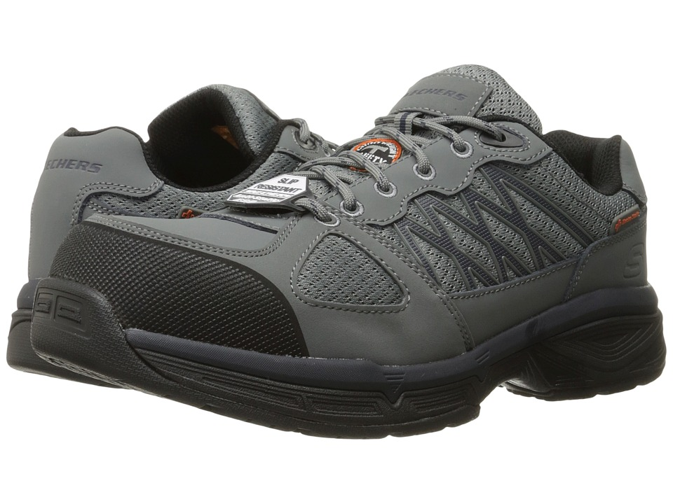 SKECHERS Work Conroe Searcy (Gray Leather/Mesh/Black Trim) Men