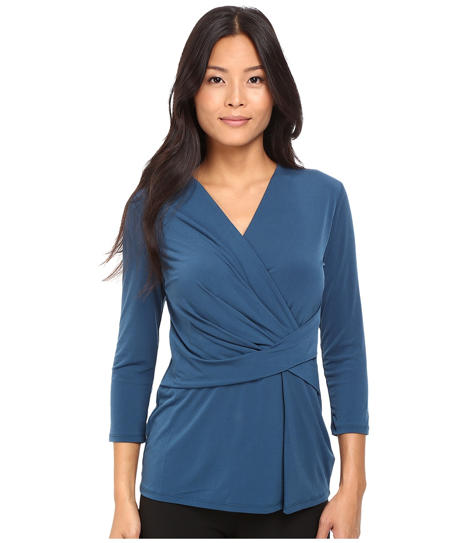 Ellen Tracy - 3/4 Sleeve Twist Top (Autumn Lake) Women's Blouse