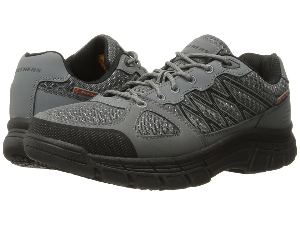 SKECHERS Work - Conroe - Dierks (Gray Leather/Mesh/Black Trim) Men's Work Boots