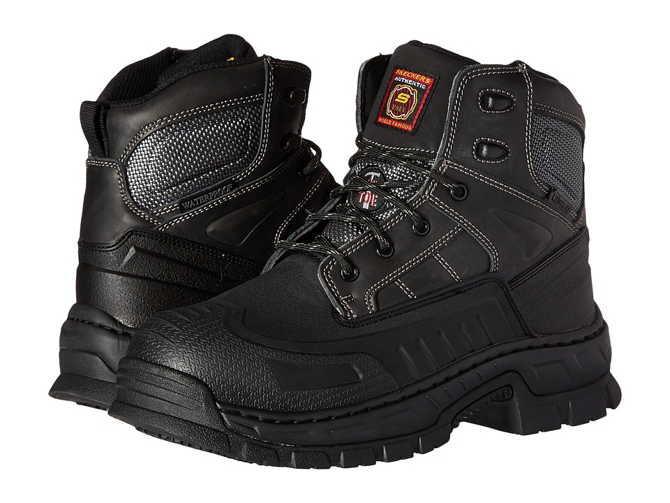 SKECHERS Work - Vinten (Black Rubber Shell/Brown Crazyhorse Leather) Men's Work Boots