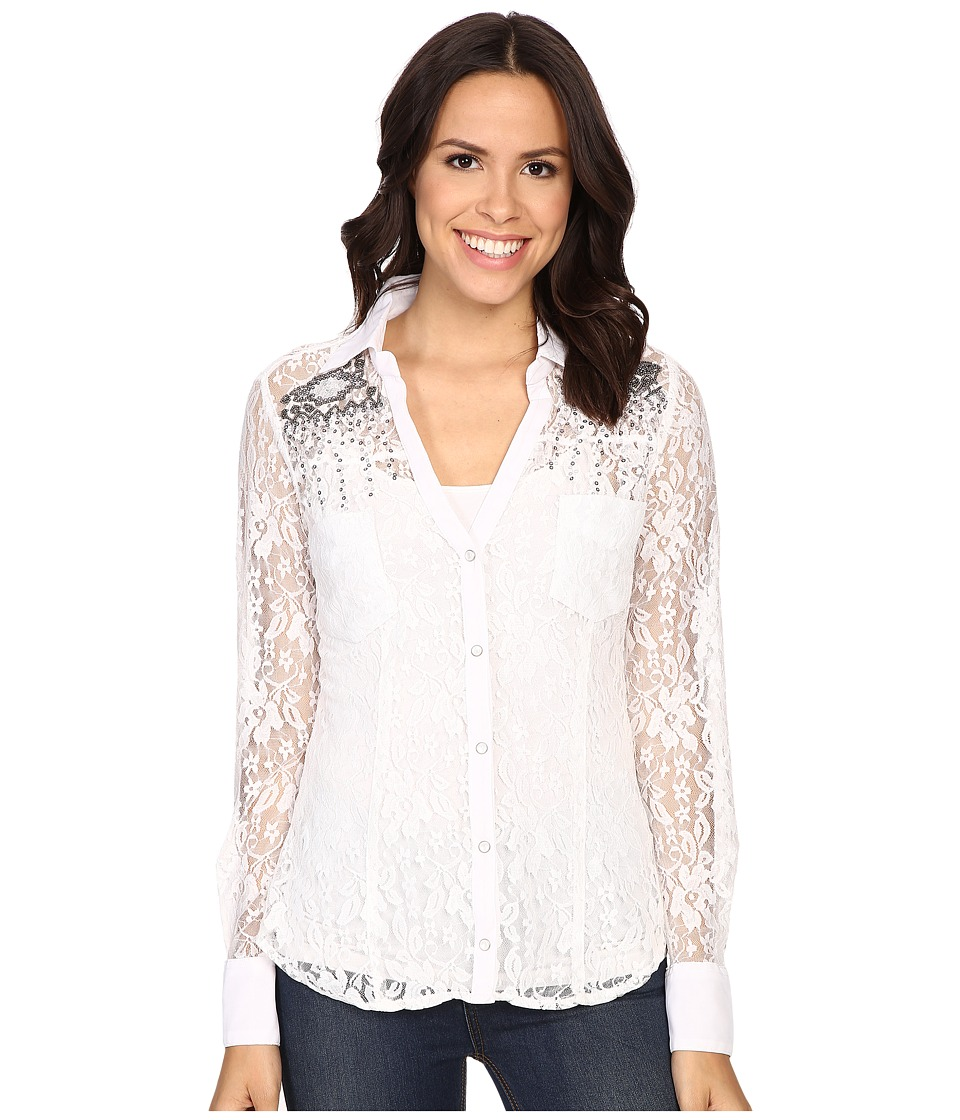 Rock and Roll Cowgirl - Long Sleeve Snap B4S6402 (White) Women's Clothing