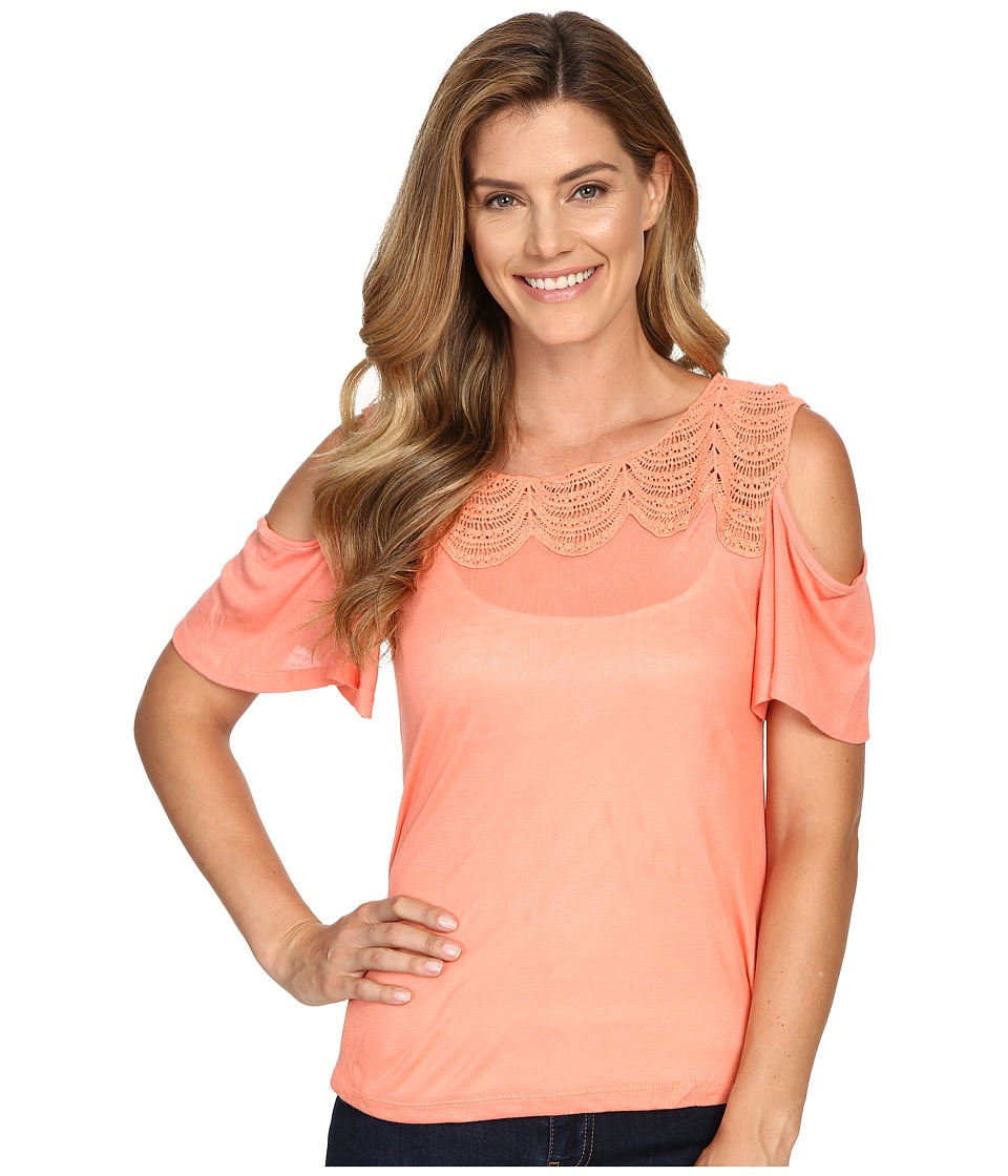Rock and Roll Cowgirl - Cold Shoulder 47-7258 (Coral) Women's Clothing