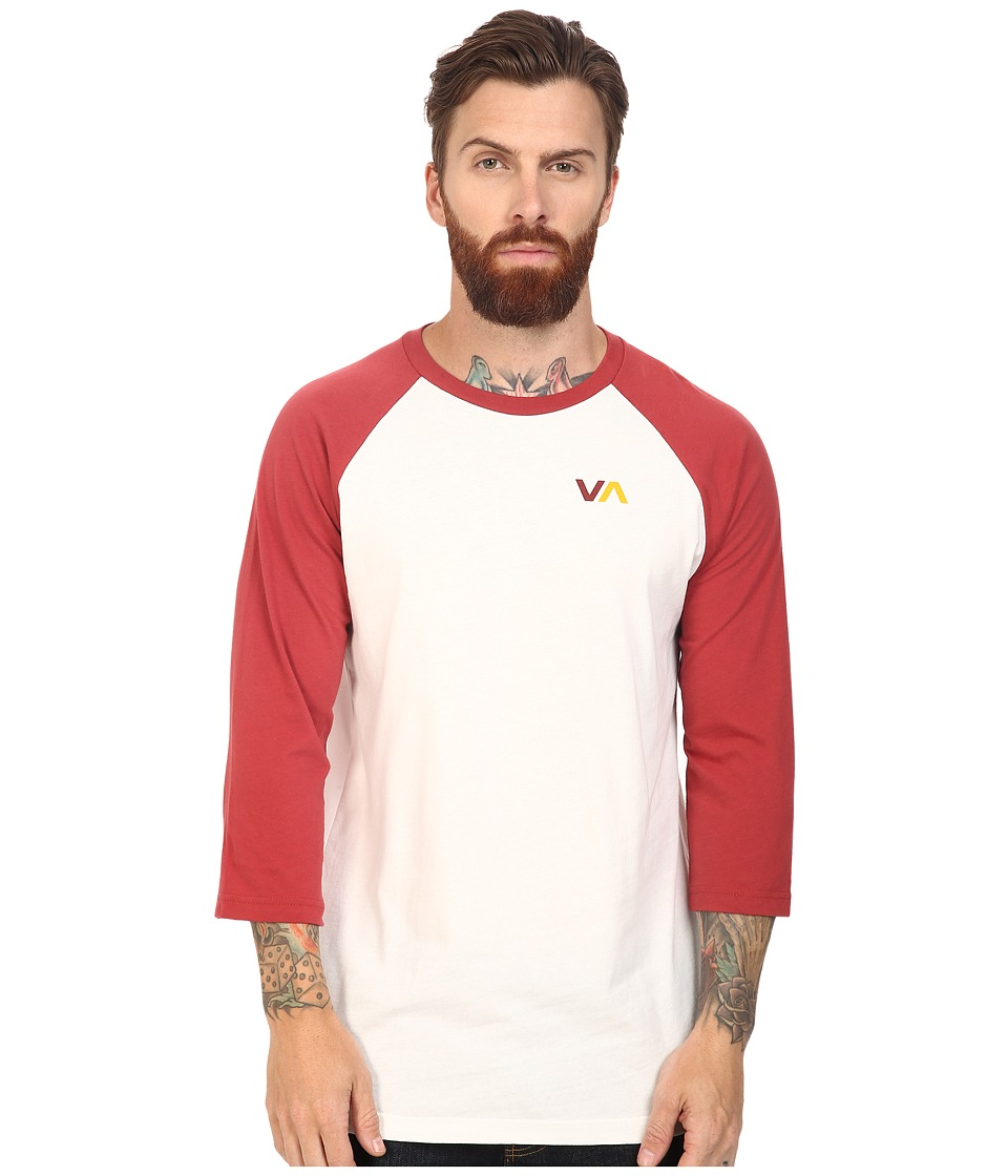 RVCA - Two Color VA Raglan (Brick Red) Men's Clothing