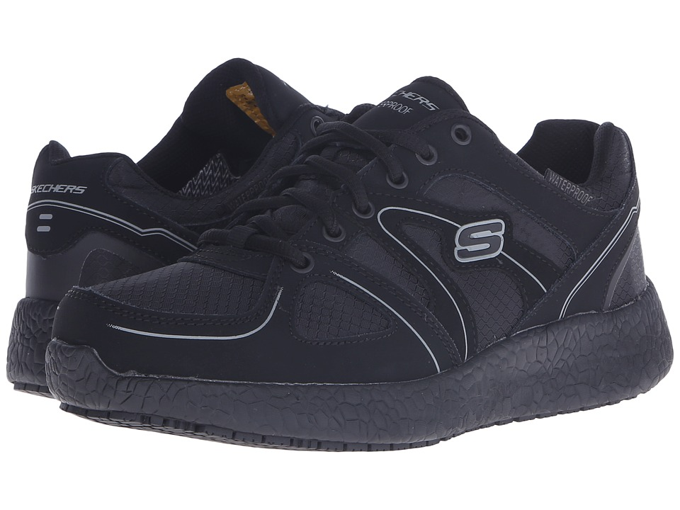 SKECHERS Work - Burst SR (Black Leather/Mesh) Women's Lace up casual Shoes