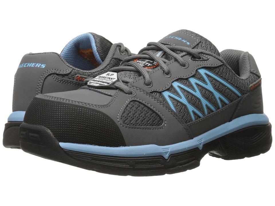 SKECHERS Work - Conroe - Kriel (Gray Leather/Mesh/Blue Trim) Women's Work Boots